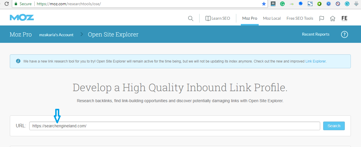 MOZ Open Site Explorer (OSE)