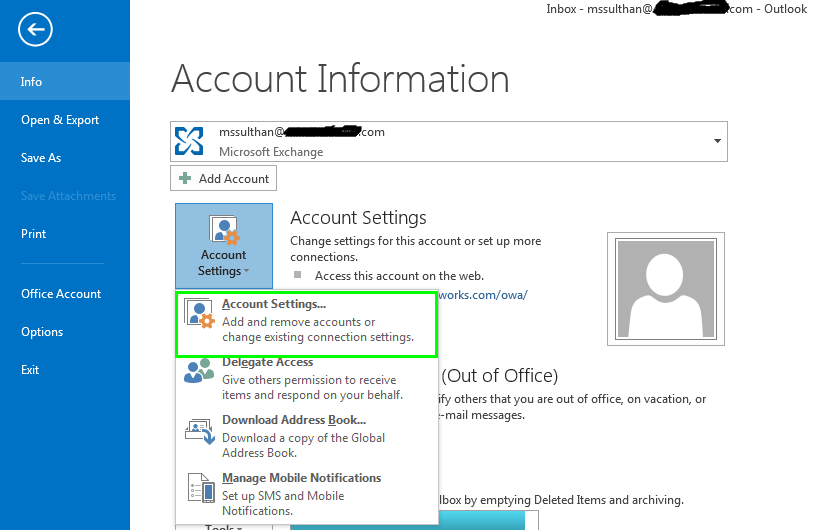 Account Settings in microsoft outlook emails
