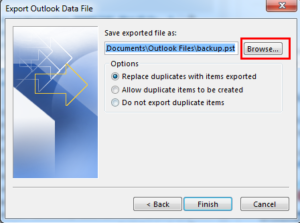 Export Outlook Data file in backup of emails