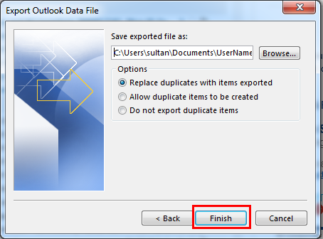 Export Outlook Email Backup Data File