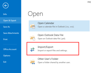 Import and export in microsoft outlook