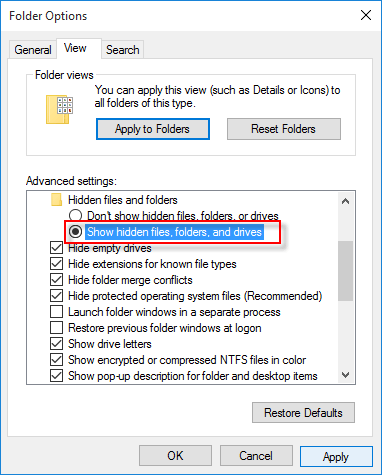 Folder Options wizard