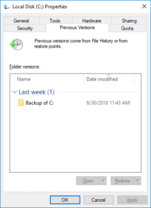 Retrieve deleted files from the Previous Versions in Windows 10