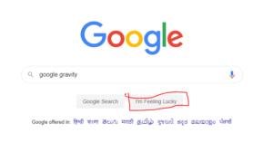 Google gravity I'm feeling lucky