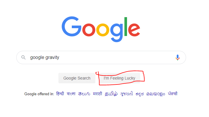 Google gravity I'm feeling lucky